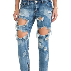 One Teaspoon Trashed Freebirds Distressed Jeans